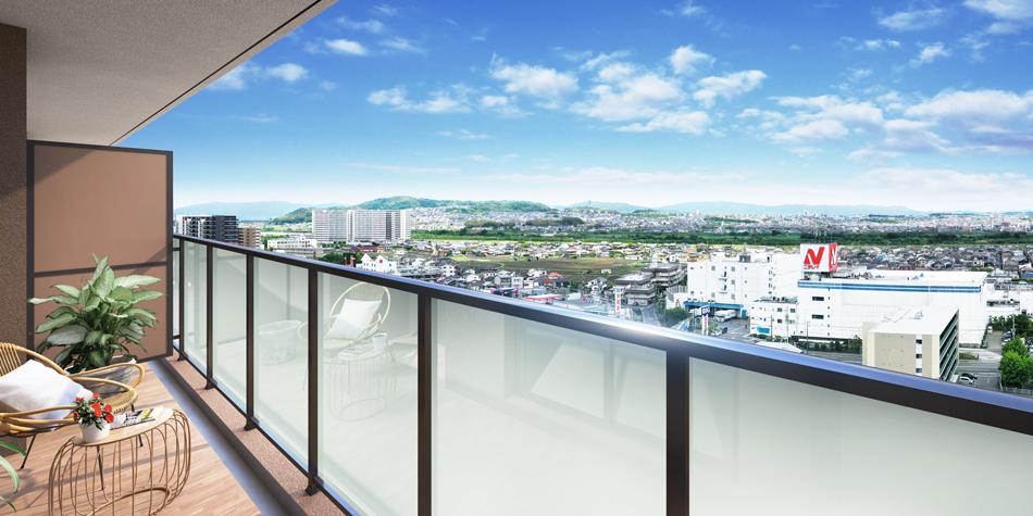 完成予想CG ※現地14階相当からの眺望(2020年3月撮影)を合成したもので実際とは異なります