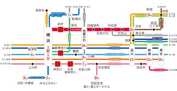 ※掲載の所要時間は日中平常時のものです。所要時間は時間帯により異なります。また、乗り継ぎ・待ち合わせ・途中停車時間は含まれておりません。※掲載の情報は2020年8月現在のもので、今後変更になる場合があります。<交通案内図>