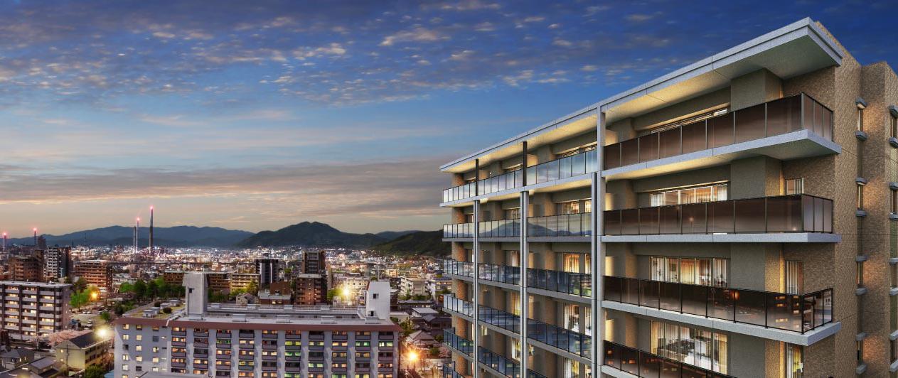 オーヴィジョン二番町(現地13階相当からの眺望(2021年3月撮影)に完成予想CGを合成したもので実際とは異なります)