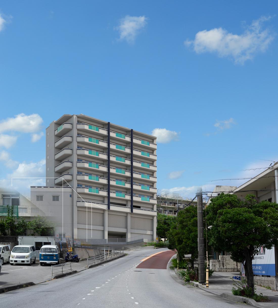 アベニールマンション豊見城(現地周辺の写真に完成予想CGを合成したもので実際とは異なります)