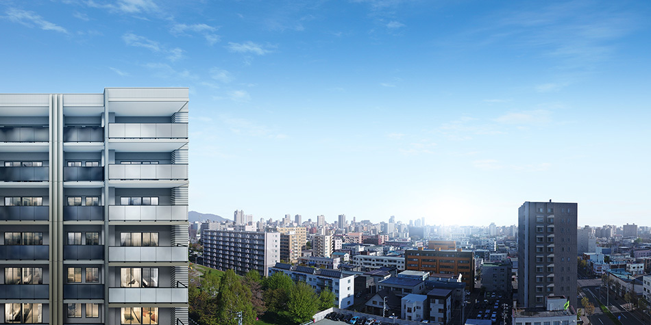 現地14階相当からの眺望(2018年5月撮影)に完成予想CGを合成したもので実際とは異なります