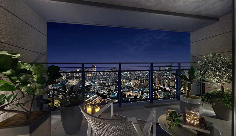 モデルルーム写真(Gタイプモデルルームプラン) ※現地16階相当からの眺望(2019年9月撮影)を合成したもので実際とは異なります