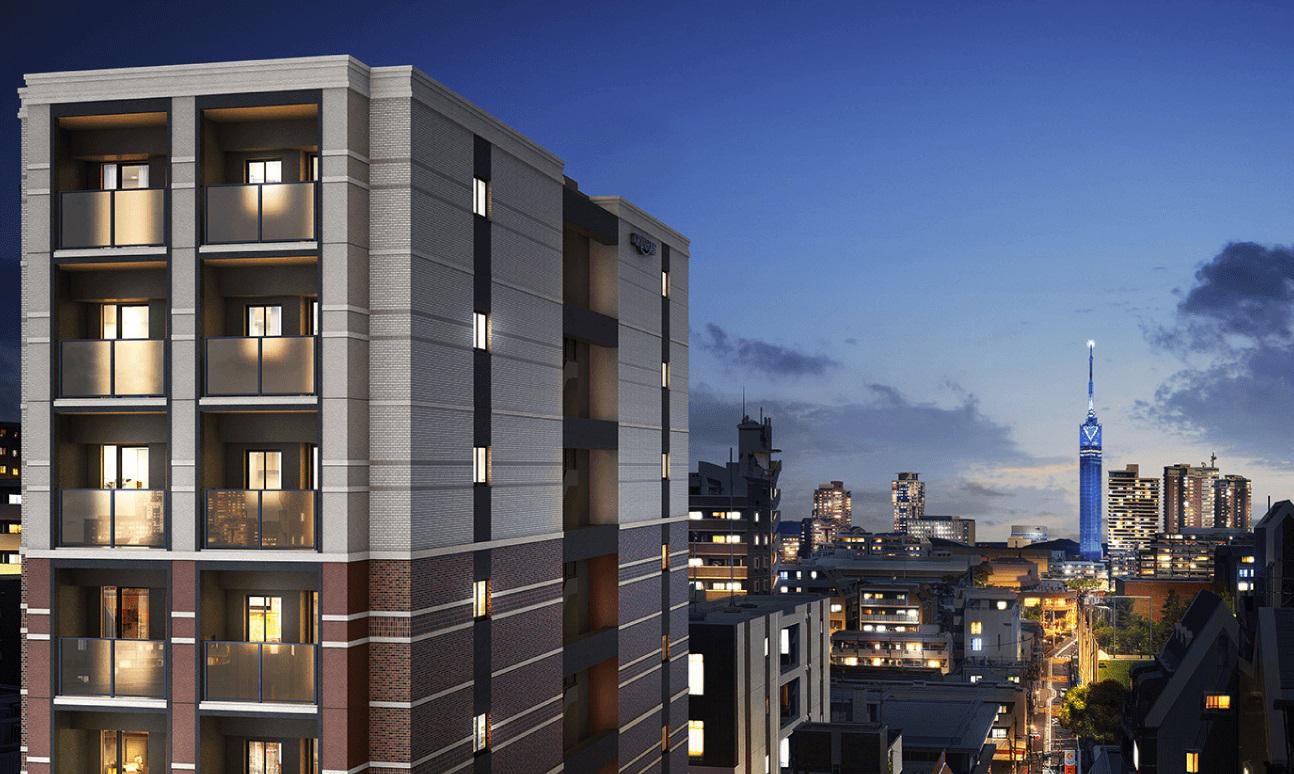 現地8階相当からの眺望に完成予想CGを合成したもので実際とは異なります