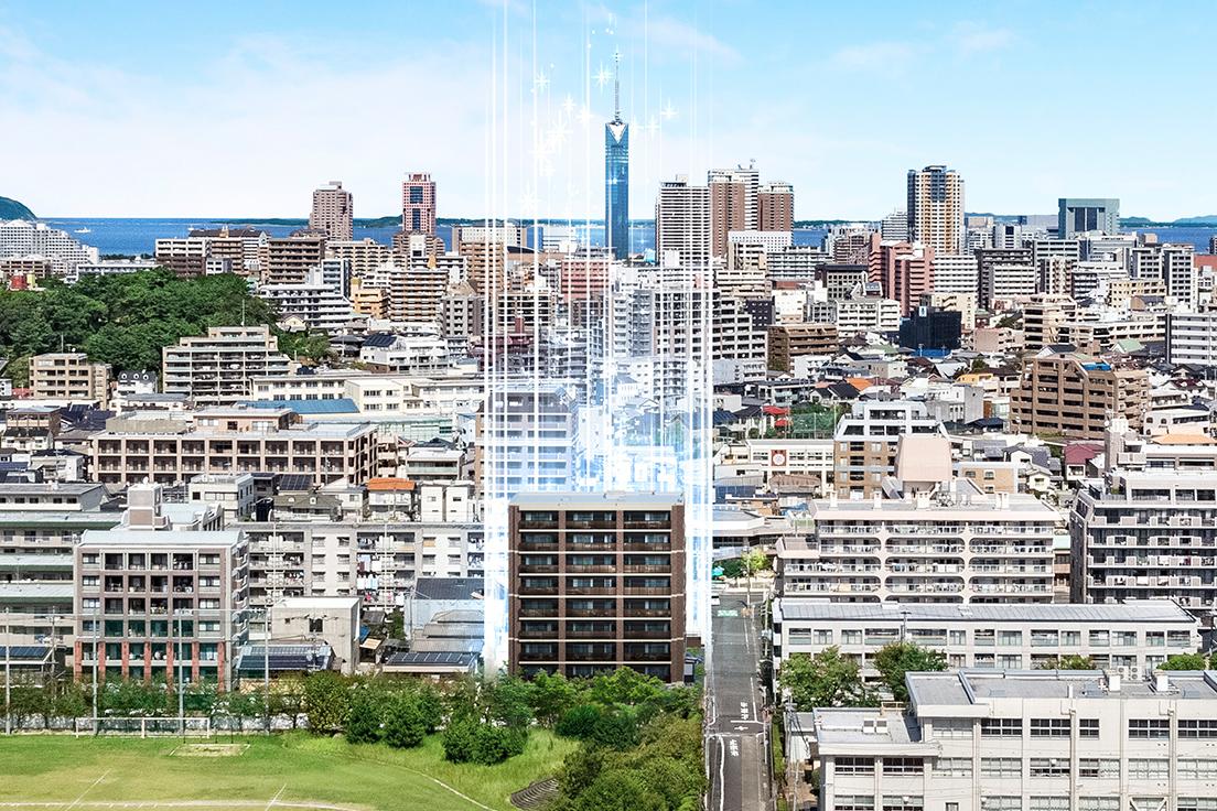 現地の高さ約30mの眺望(2018年10月撮影)にCGを合成したもので実際とは異なります