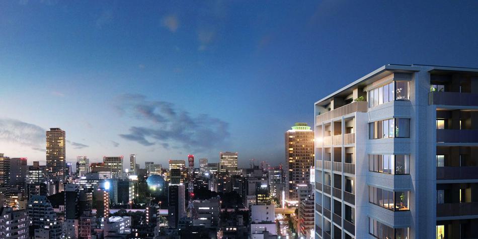 現地16階相当からの眺望(2020年9月撮影)に完成予想CGを合成したもので実際とは異なります