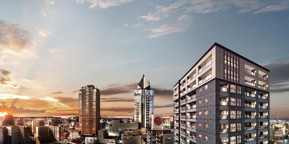 現地15階相当(45m)からの眺望(2019年10月撮影)に完成予想CGを合成したもので実際とは異なります