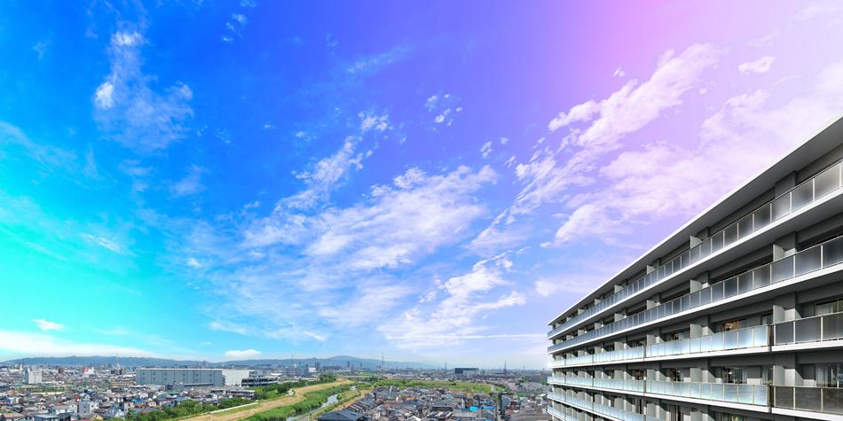 現地7階相当からの眺望(2019年6月撮影)に完成予想CGを合成したもので実際とは異なります