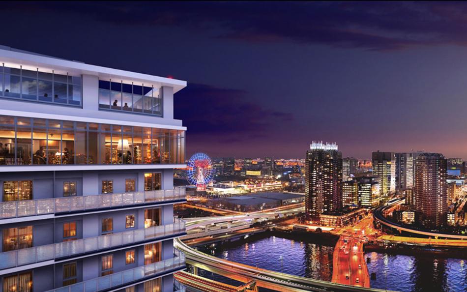 現地32階相当から南西方向の眺望(2018年8月撮影)に完成予想CGを合成したもので実際とは異なります