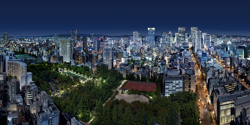 現地34階相当(高さ約110m)からの眺望(2019年9月撮影)にCGを合成したもので実際とは異なります