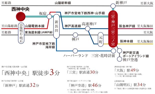 始発駅から三宮へ、座って快適。新幹線、飛行機もスムーズに利用可能なマルチアクセス<BR />※掲載の所要時間は平日日中平常時(9時~17時)の最短所要時間です。<BR />※乗換、待ち時間は含まれません。<交通案内図>