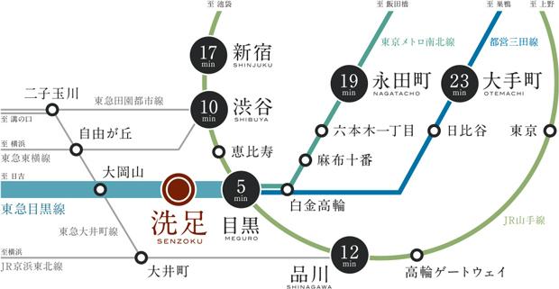 【駅徒歩4分の「近さ」と都心主要駅への「利便」を日常に。】<BR />歩いて4分の「洗足」駅から「目黒」駅へ4駅5分※1。都営三田線と東京メトロ南北線も乗り入れ。JR山手線「目黒」駅での乗り換えも快適。都心へスムーズなアクセス環境です。<BR />※所要時間は交通状況などにより変動する場合がございます。<BR />※掲載の情報は2020年8月現在のもので、今後変更になる場合がございます。<BR />※1/「洗足」駅から東急目黒線利用・「武蔵小山」駅で東急目黒線急行乗換え。(通勤時6分)<交通案内図>
