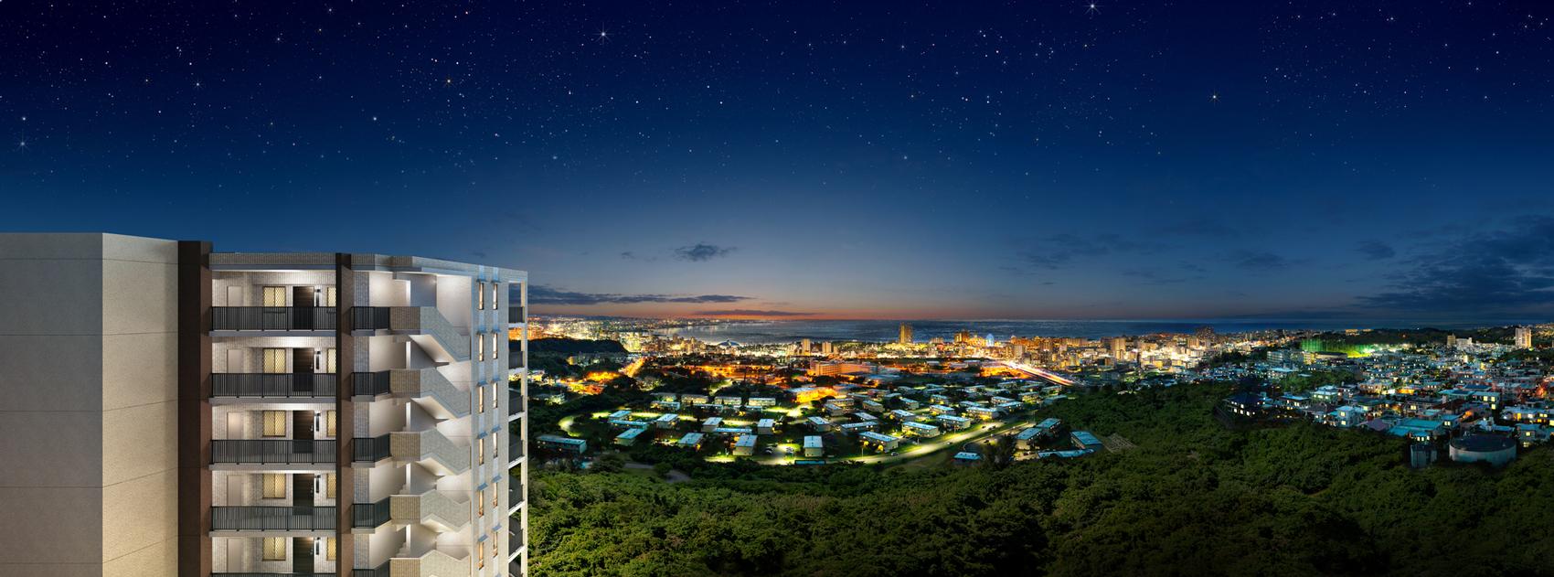 アルファステイツ北谷ヒルズ(現地からの眺望(2020年11撮影)に完成予想CGを合成したもので実際とは異なります)