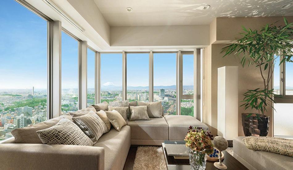モデルルーム写真(W-80Hタイプメニュープラン) ※現地26階相当からの眺望(2015年3月撮影)を合成したもので実際とは異なります